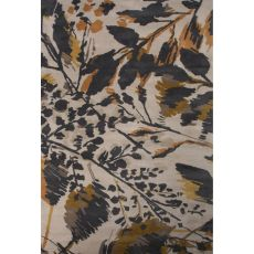 Contemporary Floral & Leaves Pattern Gray/Orange Wool Area Rug (8X11)