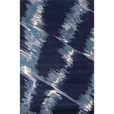 Contemporary Abstract Pattern Blue Wool Area Rug (8x11)