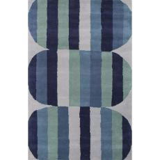 Contemporary Tribal Pattern Blue/Green Wool Area Rug (8X11)