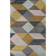 Contemporary Tribal Pattern Yellow/Gray Wool Area Rug (9X13)