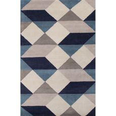 Contemporary Tribal Pattern Blue/Ivory Wool Area Rug (9X13)