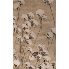 Contemporary Floral & Leaves Pattern Taupe/Ivory Wool Area Rug (8X11)