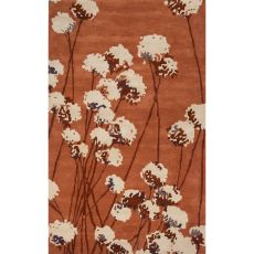 Contemporary Floral & Leaves Pattern Orange/Ivory Wool Area Rug (8X11)