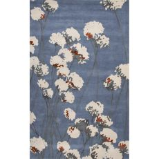 Contemporary Floral & Leaves Pattern Blue/Ivory Wool Area Rug (8X11)