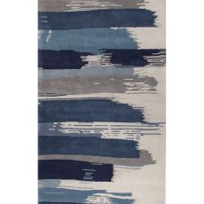 Contemporary Abstract Pattern Blue/Ivory Wool Area Rug (9x13)