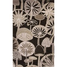 Contemporary Floral & Leaves Pattern Black/White Wool Area Rug (8X11)