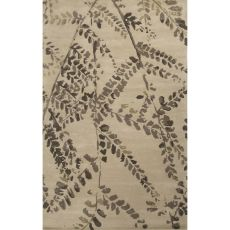 Contemporary Floral Pattern Taupe/Ivory Wool Area Rug (8X11)