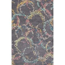 Contemporary Abstract Pattern Dark Gray/Multi Wool Area Rug (9x13)