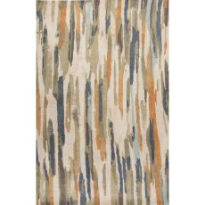 Contemporary Abstract Pattern Ivory/Multi Wool Area Rug (9X13)