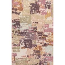 Contemporary Abstract Pattern Pink/Multi Wool Area Rug (9X13)