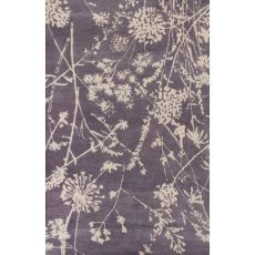 Contemporary Floral & Leaves Pattern Purple/Ivory Wool Area Rug (9X13)