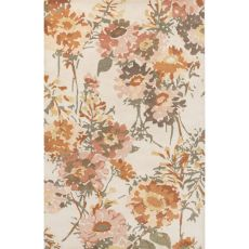 Contemporary Floral & Leaves Pattern Ivory/Orange Wool Area Rug (9X13)