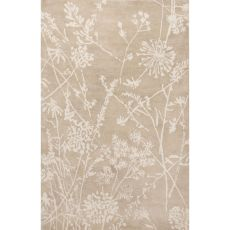 Contemporary Floral & Leaves Pattern Ivory/Beige Wool Area Rug (9X13)
