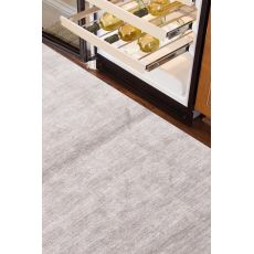 Luxury Solid Pattern Gray Silk Area Rug (9X13)
