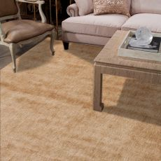 Luxury Solid Pattern Taupe/Tan Silk Area Rug (9X13)