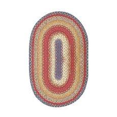 "Homespice Decor 27"" x 45"" Oval Log Cabin Step Cotton Braided Rug"