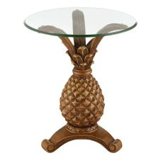 Antique Pineapple Glass Top Accent Table