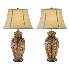 Antique Wicker Night Light Table Lamp (Set Of 2)