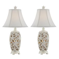 Antique White Starfish Night Light Table Lamp (Set Of 2)