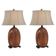 Oval Leaf Night Light Table Lamp (Set Of 2)