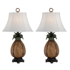 Pineapple Wicker Night Light Table Lamp (Set Of 2)