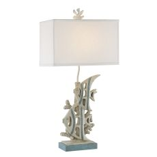 Caribbean Blue Coral Reef Table Lamp Set of 2