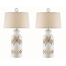 Antique White Palm Tree Night Light Table Lamp (Set Of 2)
