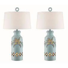 Glacier Blue Palm Tree Night Light Table Lamp (Set Of 2)
