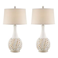 Antique White Leaf Night Light Table Lamp (Set Of 2)