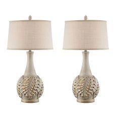 Misty Haze Leaf Night Light Table Lamp (Set Of 2)