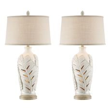Antique White Leaf Night Light Table Lamp (Set Of 2)