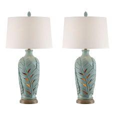 Glacier Blue Leaf Night Light Table Lamp (Set Of 2)