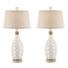 Antique White Eden Isle Rope Table Lamp (Set Of 2)