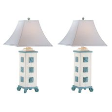 Sky Blue Wash And Cottage White Table Lamp (Set Of 2)