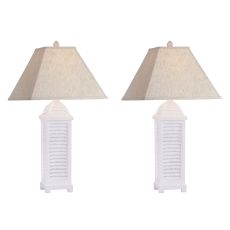 Shutter Cottage White Table Lamp (Set Of 2)
