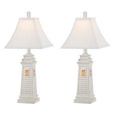 Accent Shutter Lighthouse Night Light Table Lamp (Set Of 2)