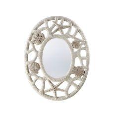 Oval Beach Shell and Starfish Mirror