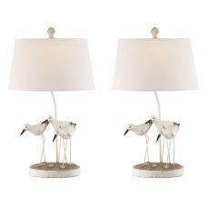 White Trio Shore Birds Accent Table Lamps (Set Of 2)
