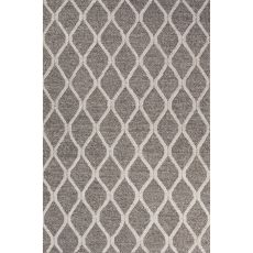 Contemporary Tribal Pattern Dark Gray/Ivory Wool And Art Silk Area Rug (8X11)