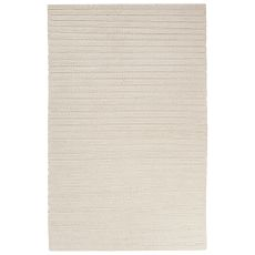 Solids Stripes Pattern Natural Wool And Art Silk Area Rug (8X11)