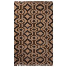 Flatweave Tribal Pattern Black/Tan Jute Area Rug (8X10)