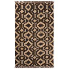 Flatweave Tribal Pattern Brown/Tan Jute Area Rug (8X10)