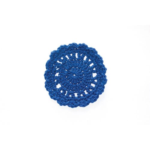"Mode Crochet 5"" Round Coaster, Cobalt Blue"