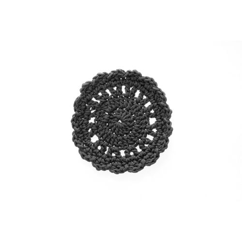 "Mode Crochet 5"" Round Coaster, Charcoal"