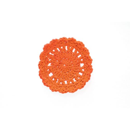"Mode Crochet 5"" Round Coaster, Orange"