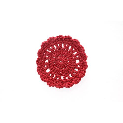 "Mode Crochet 5"" Round Coaster, Ruby Red"