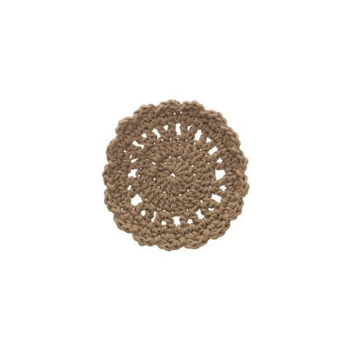 "Mode Crochet 5"" Round Coaster, Tan"