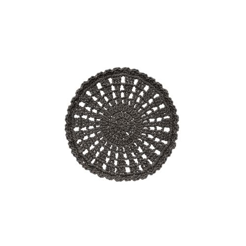 "Mode Crochet 10"" Round Doily, Charcoal"