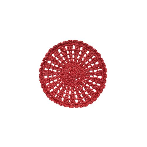 "Mode Crochet 10"" Round Doily, Ruby Red"