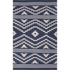 Flatweave Tribal Pattern Blue/Ivory Cotton Area Rug (8X11)